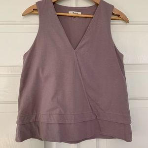 Madewell mauve faux wrap V-neck top size small
